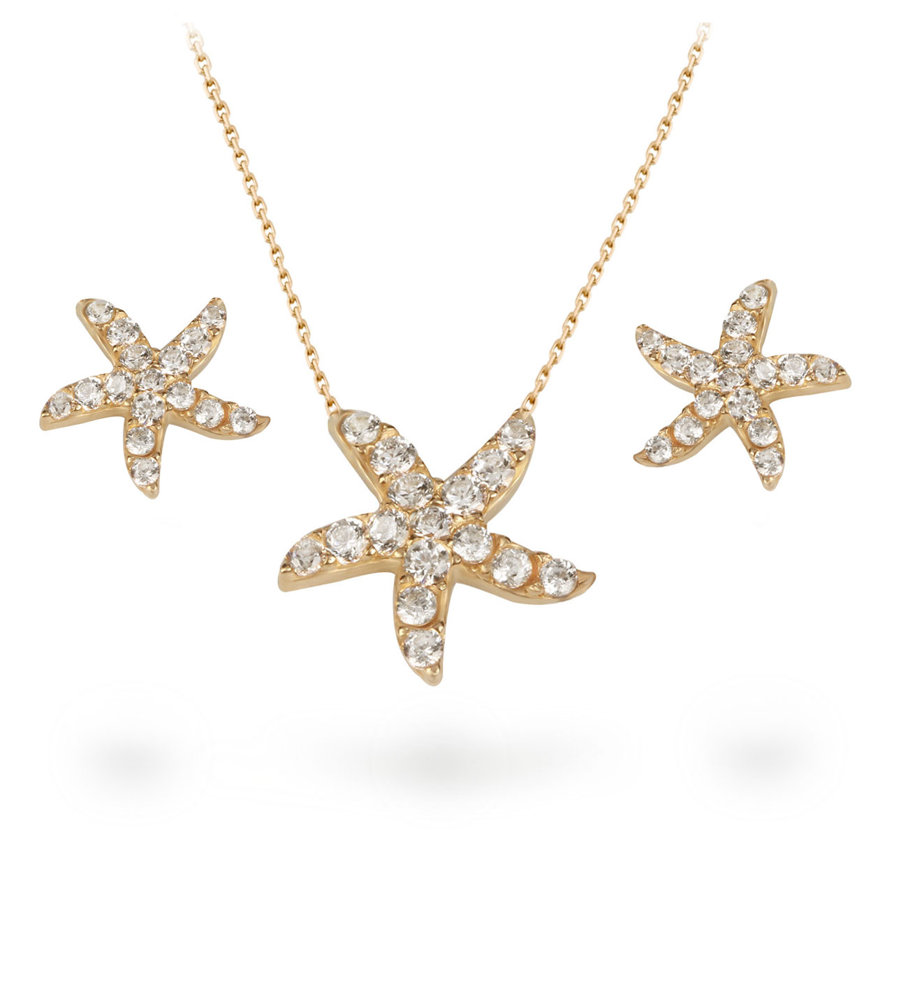 Women's Gemmed Starfish Pendant Gold Necklace & Earrings Set