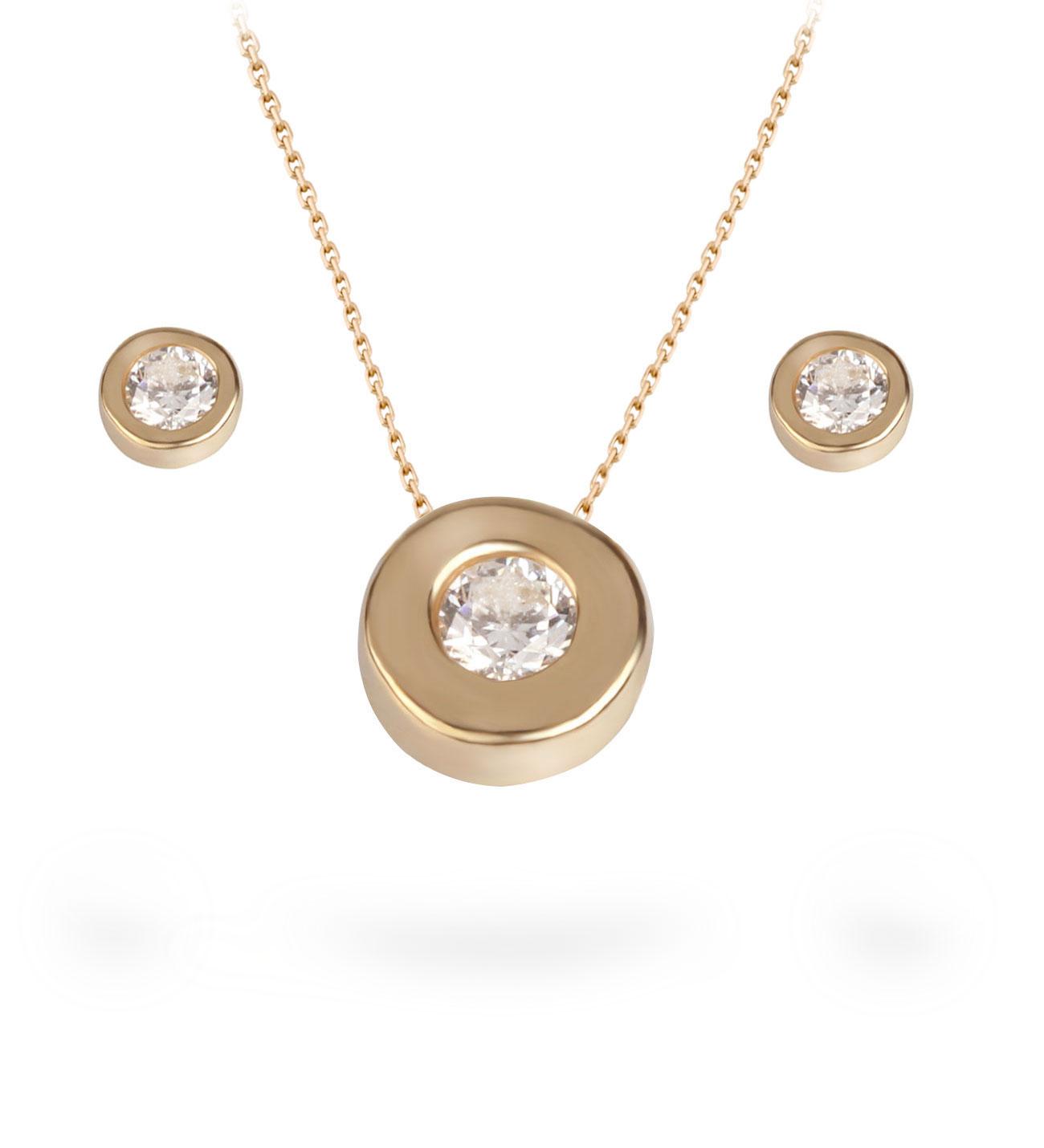Women's Zircon Gemmed Gold Necklace & Earrings Set