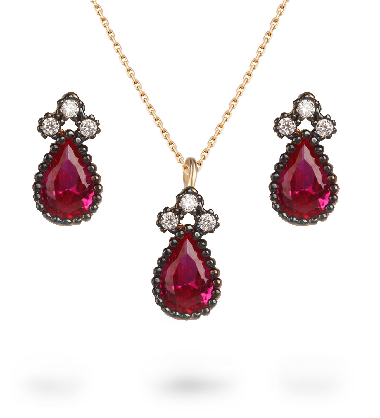 Women's Red Zircon Gemmed Gold Necklace & Earrings Set