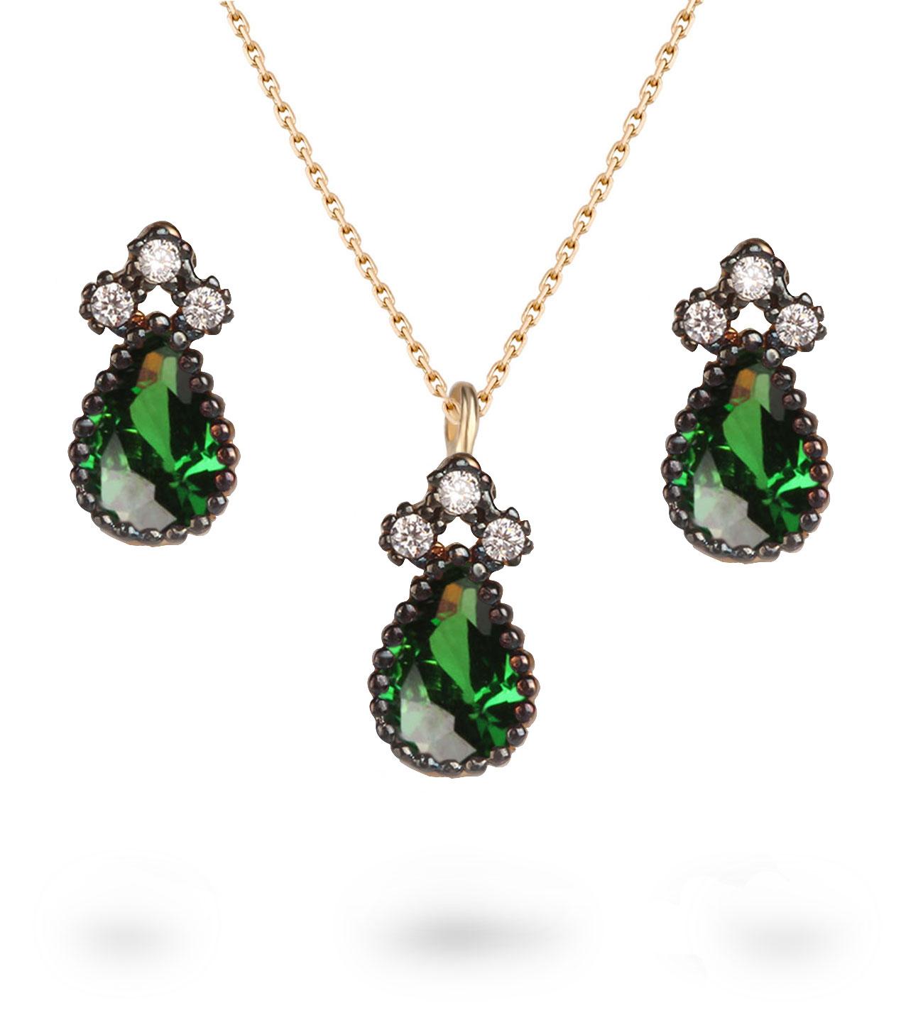 Women's Green Zircon Gemmed Gold Necklace & Earrings Set