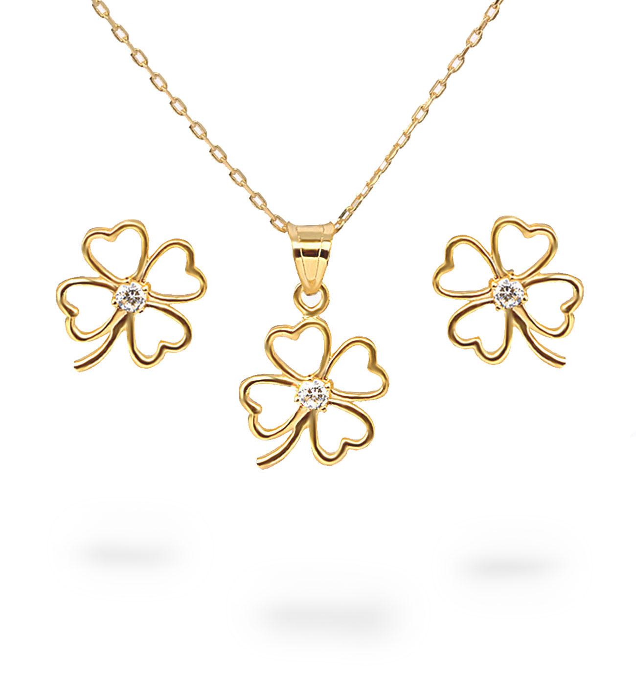 Women's Clover Pendant Gold Necklace & Earrings Set