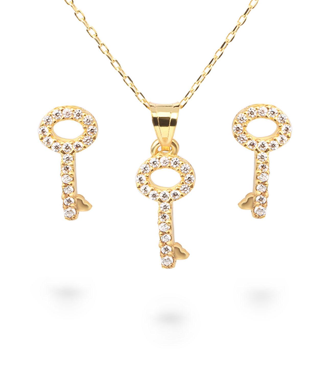 Gemmed Key Pendant Gold Necklace & Earrings Set