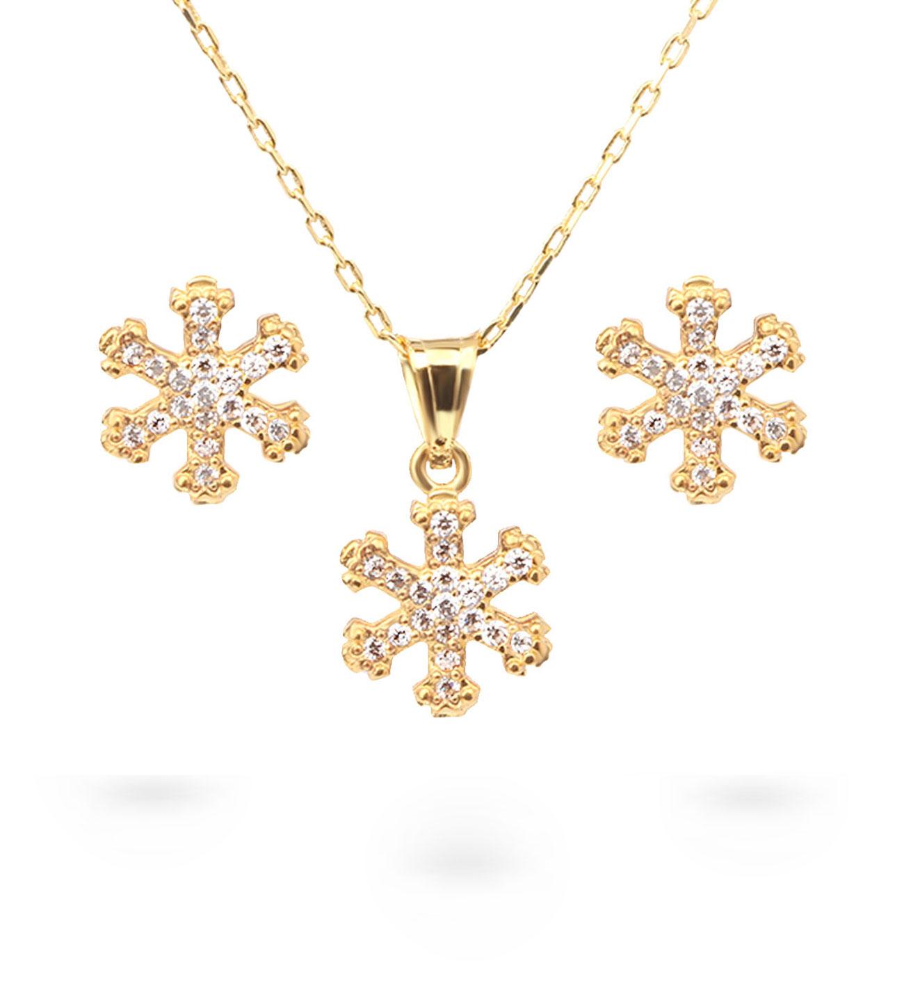Women's Snowflake Pendant Gold Necklace & Earrings Set