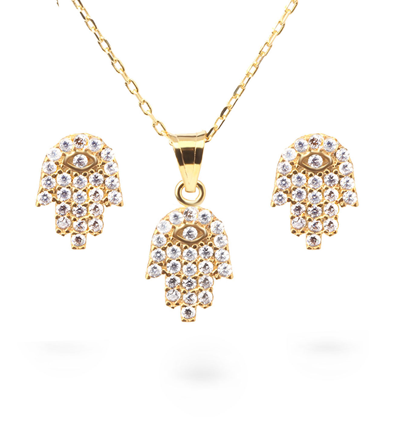 Women's Gemmed Hand Pendant Gold Necklace & Earrings Set