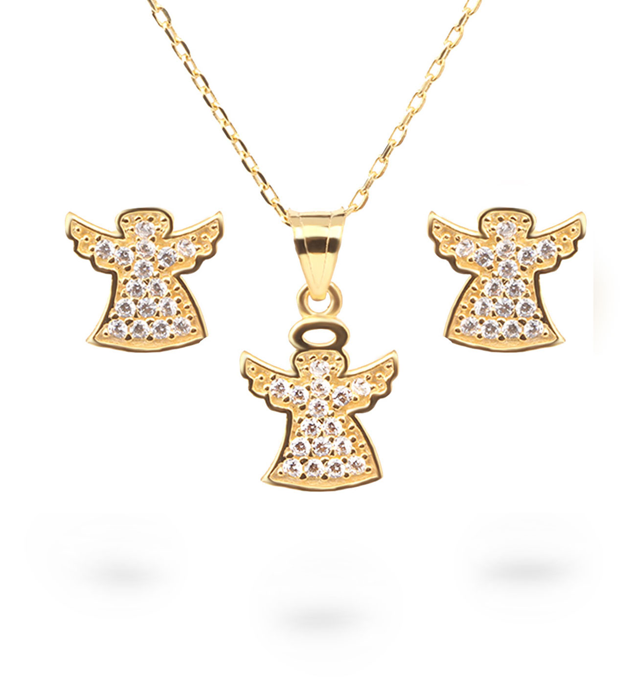 Women's Angel Pendant Gold Necklace & Earrings Set