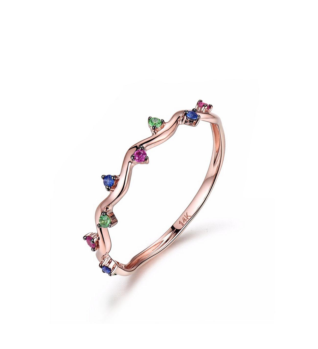 Sapphire & Emerald & Ruby Gemmed Gold Ring