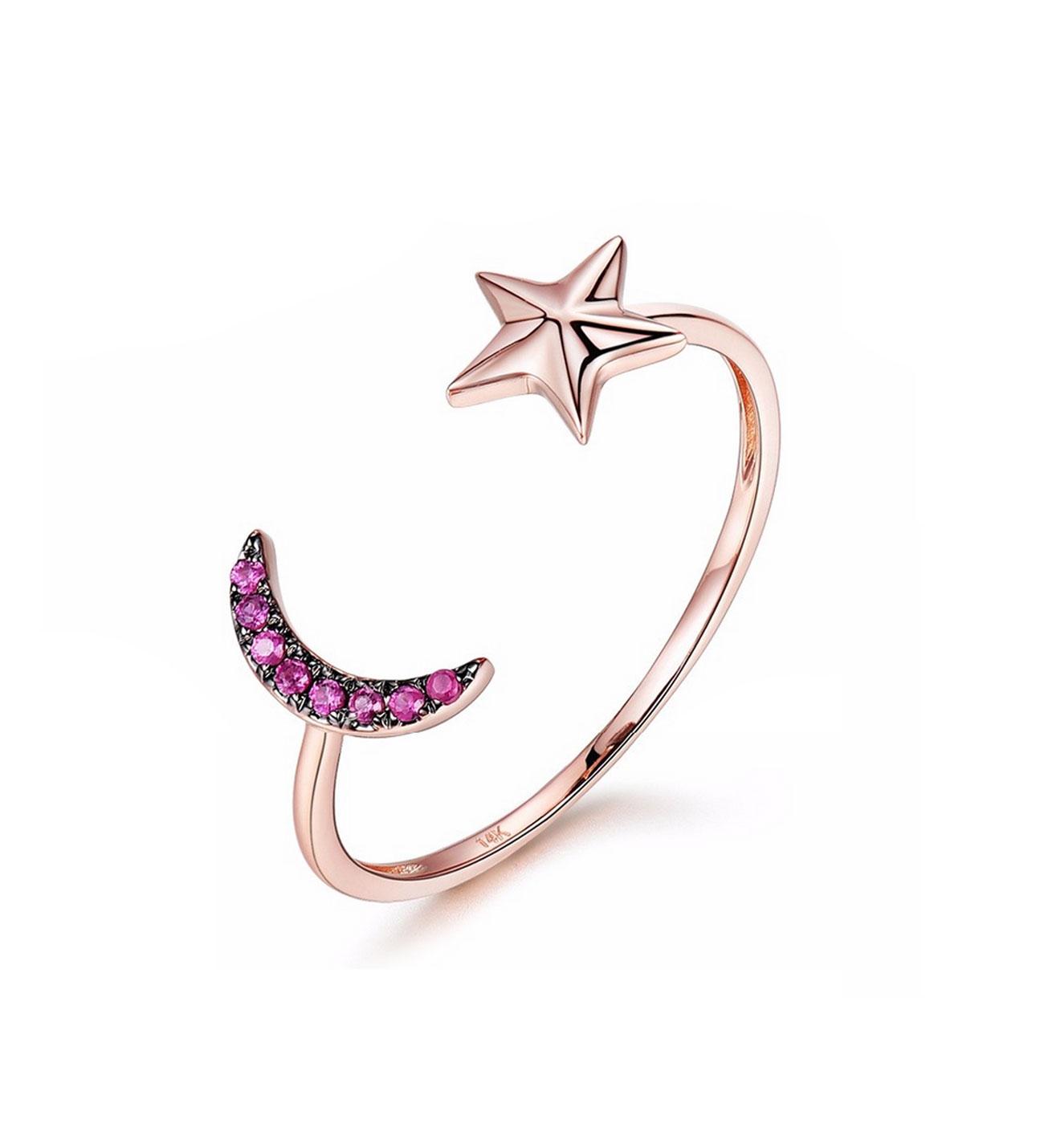 Women's Ruby Gemmed Moon Star Design Ring