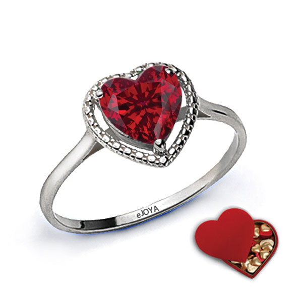 Gemmed Heart Figure Ring- Special Chocolate Gift Box