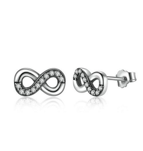 Women's Diamond Gemmed Infinity Design Earrings