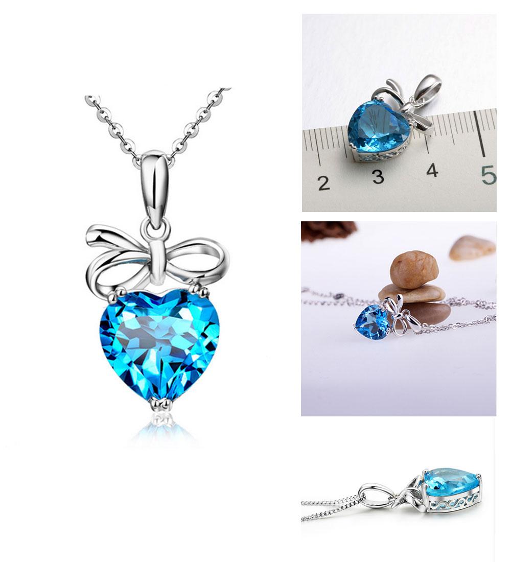 Women's Topaz Gem Heart Pendant Gold Necklace