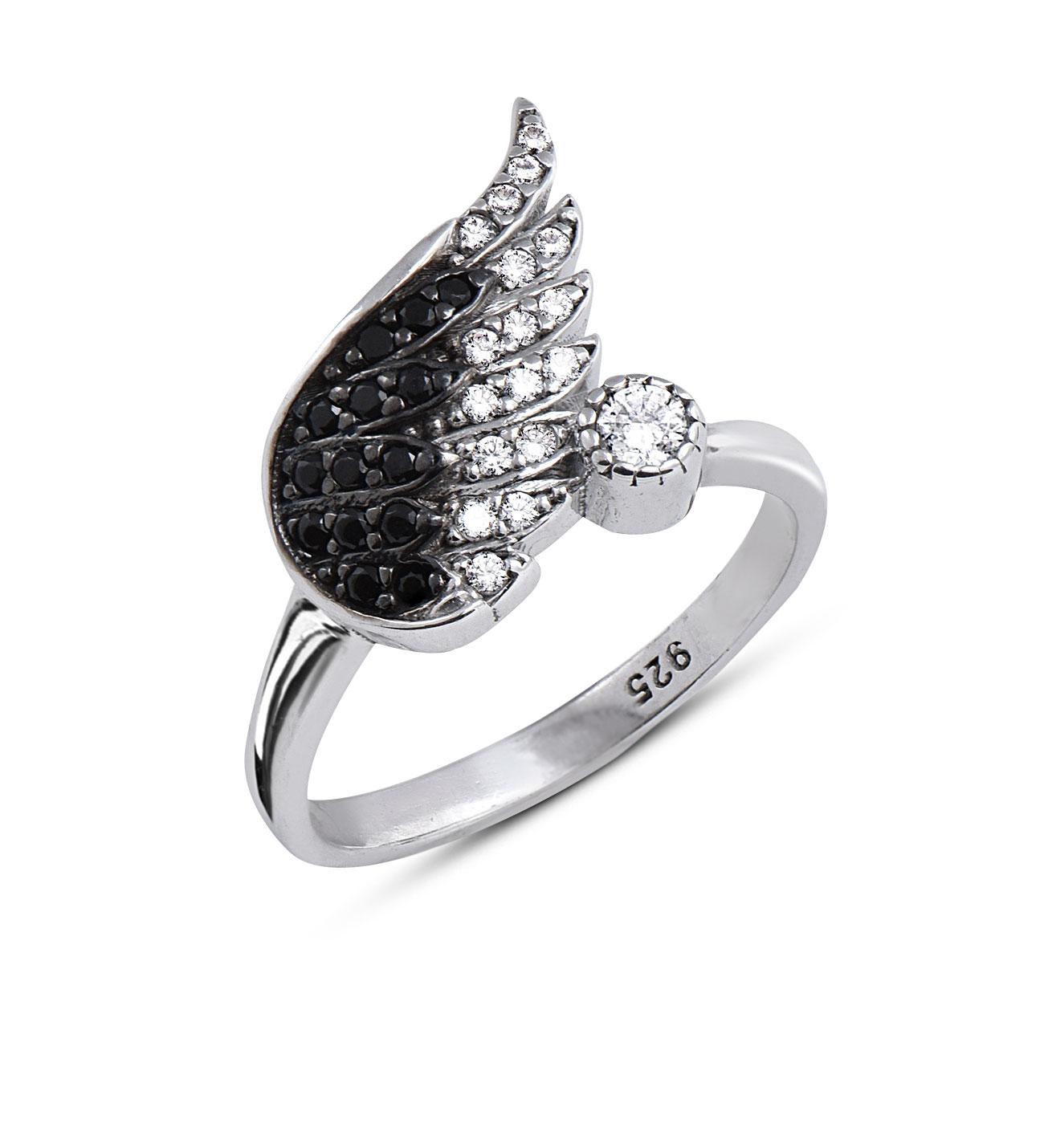 Women's Gemmed Angel Wing Design Ring