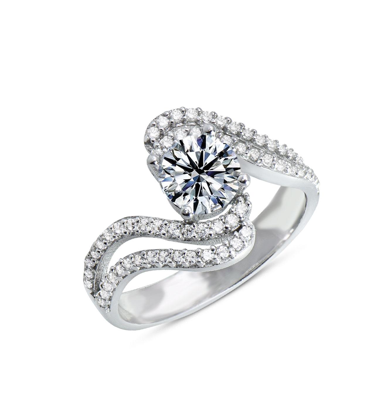 Women's Zircon Gemmed Silver Ring