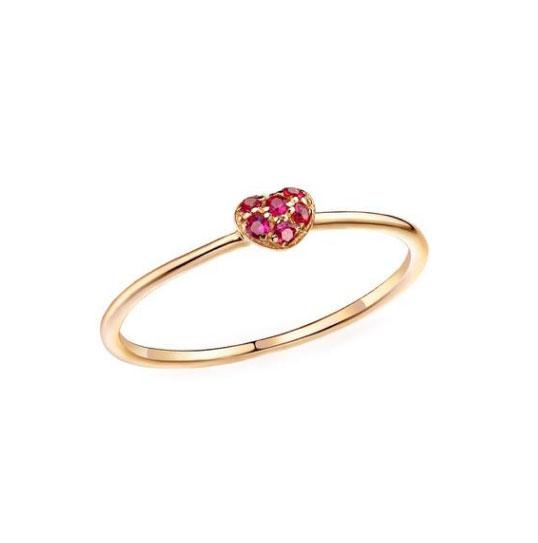 Women's Ruby Gemmed Heart Design Ring