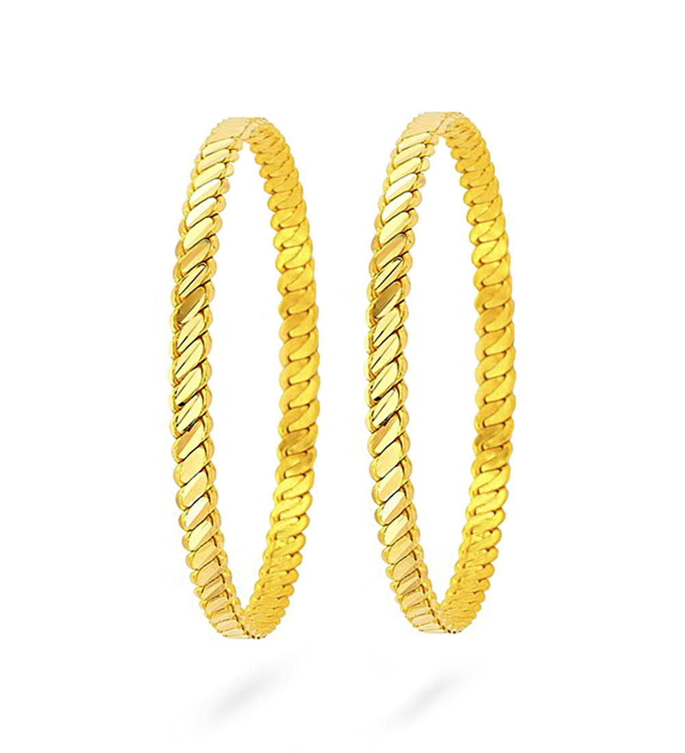 Women's 22 Carat Gold Plated Bracelet- 2 Pieces/ Middle Size