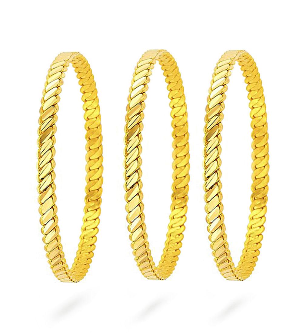 Women's Gold Plated Bracelet- 3 Pieces/ Big Size