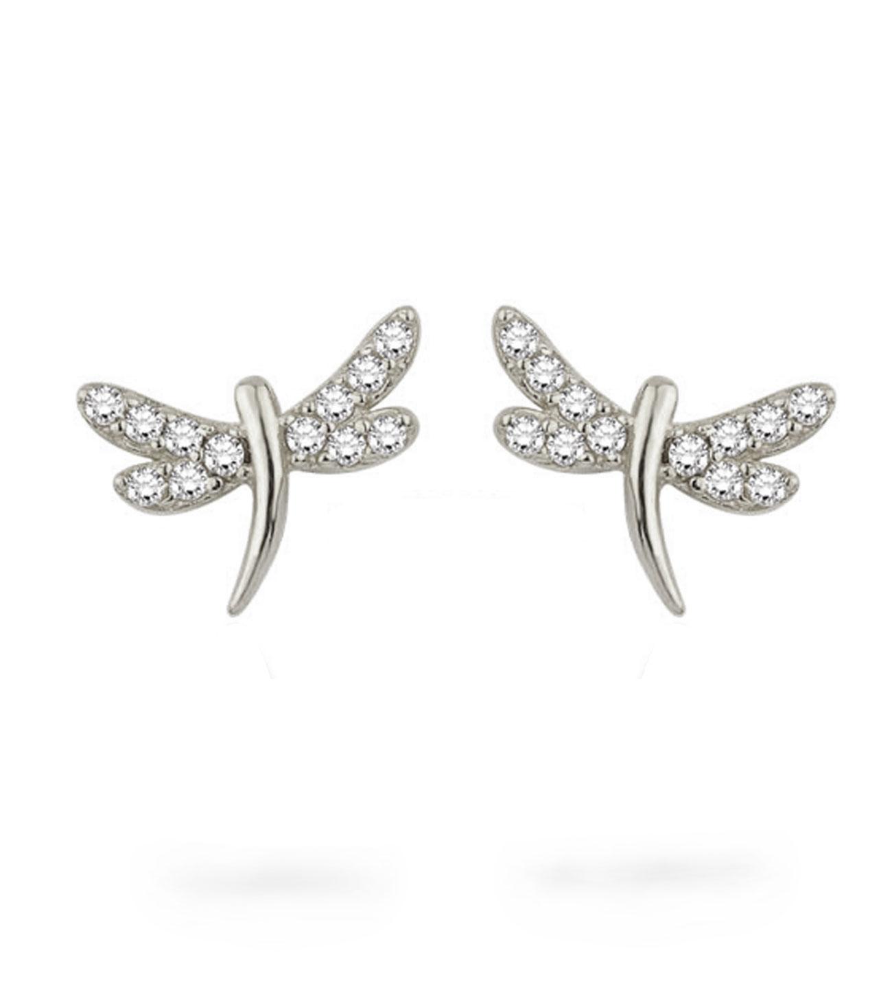 Women's 0.12 Diamond Gemmed Dragonfly Design Earrings