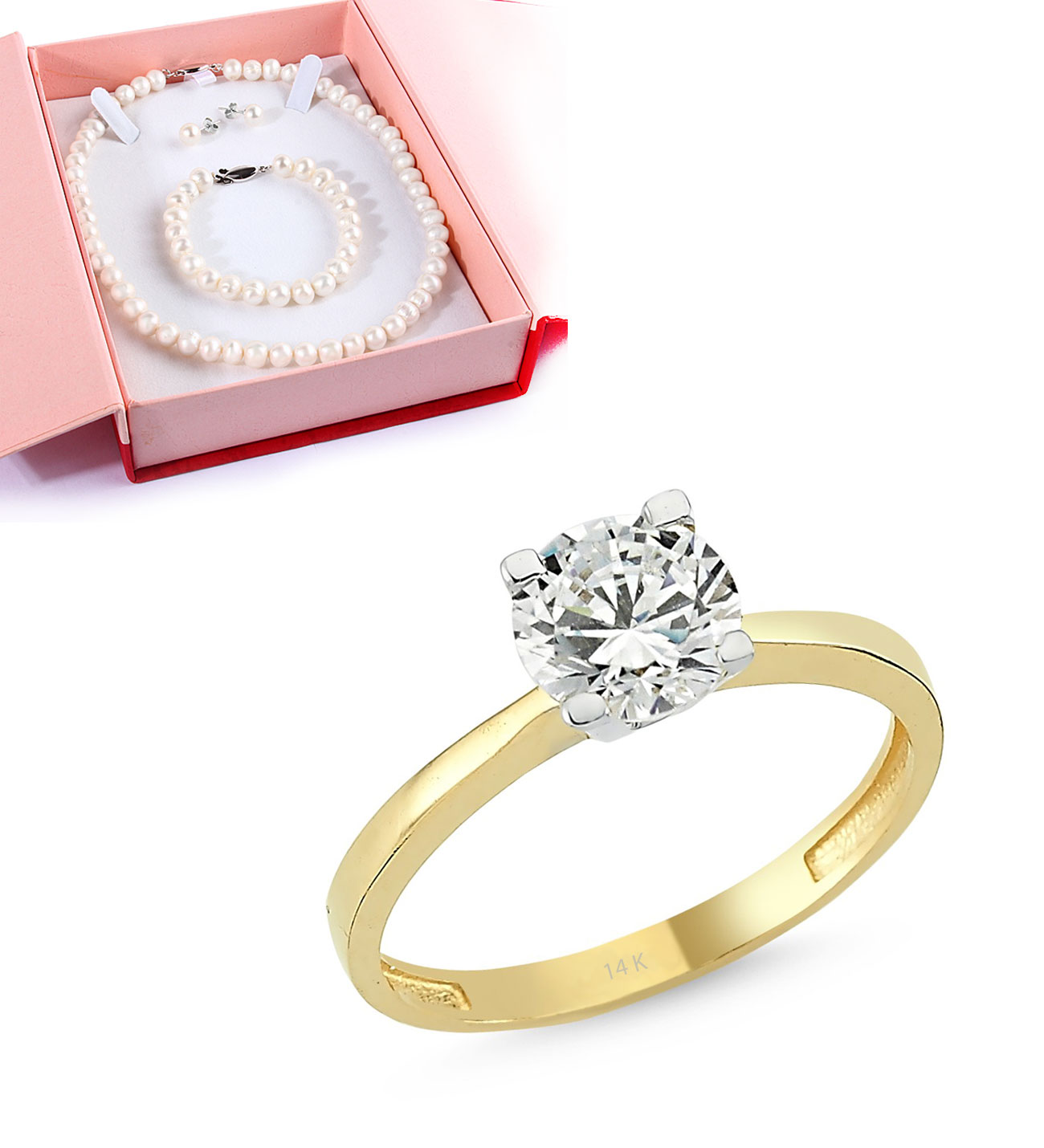 Gemmed Gold Ring- Pearl Necklace Gift