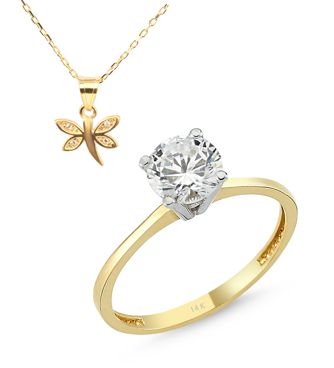 Women's Gemmed Gold Ring- Dragonfly Pendant Necklace Gift