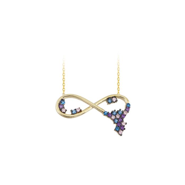 Women's Multi-color Gemmed Infinity Pendant Gold Necklace