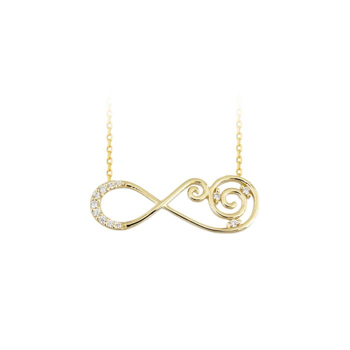 Women's Gemmed Infinity Pendant Gold Necklace