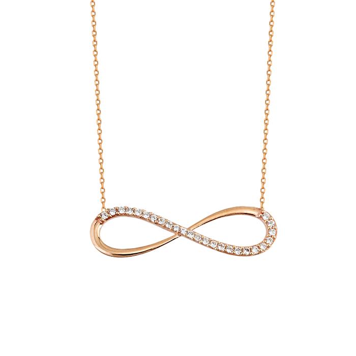 Gemmed Infinity Pendant 14k Gold Necklace