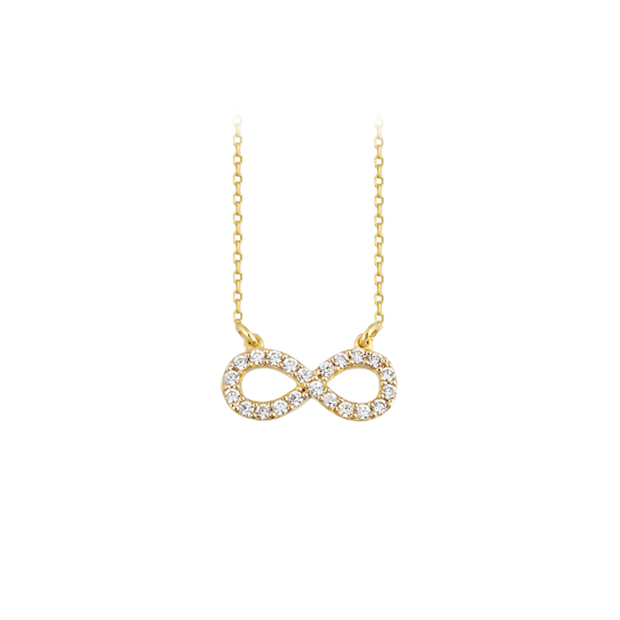 Women's Gemmed Infinity Pendant 14 Carat Gold Necklace