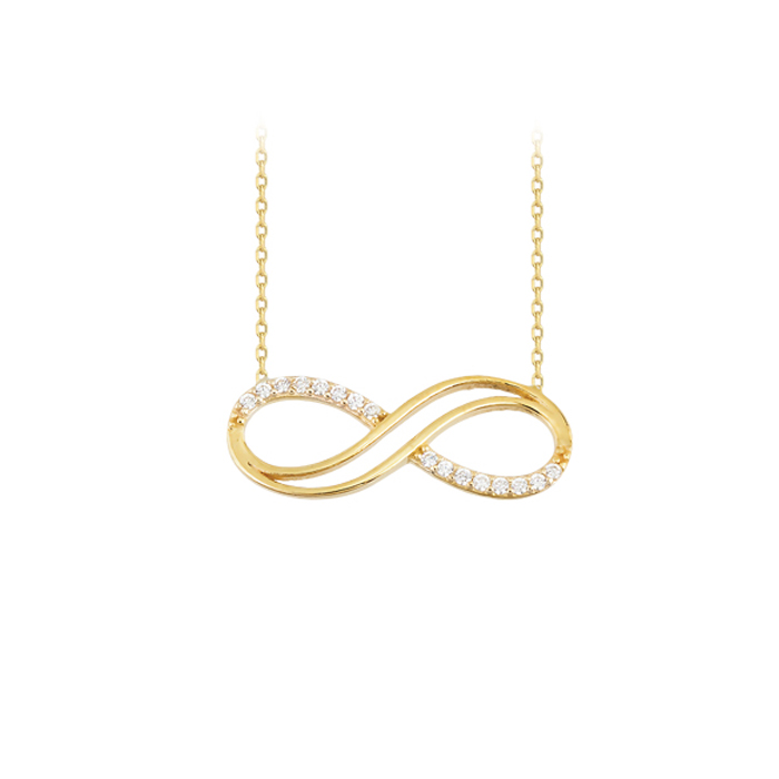 Gemmed Infinity Pendant 14k Gold Necklace