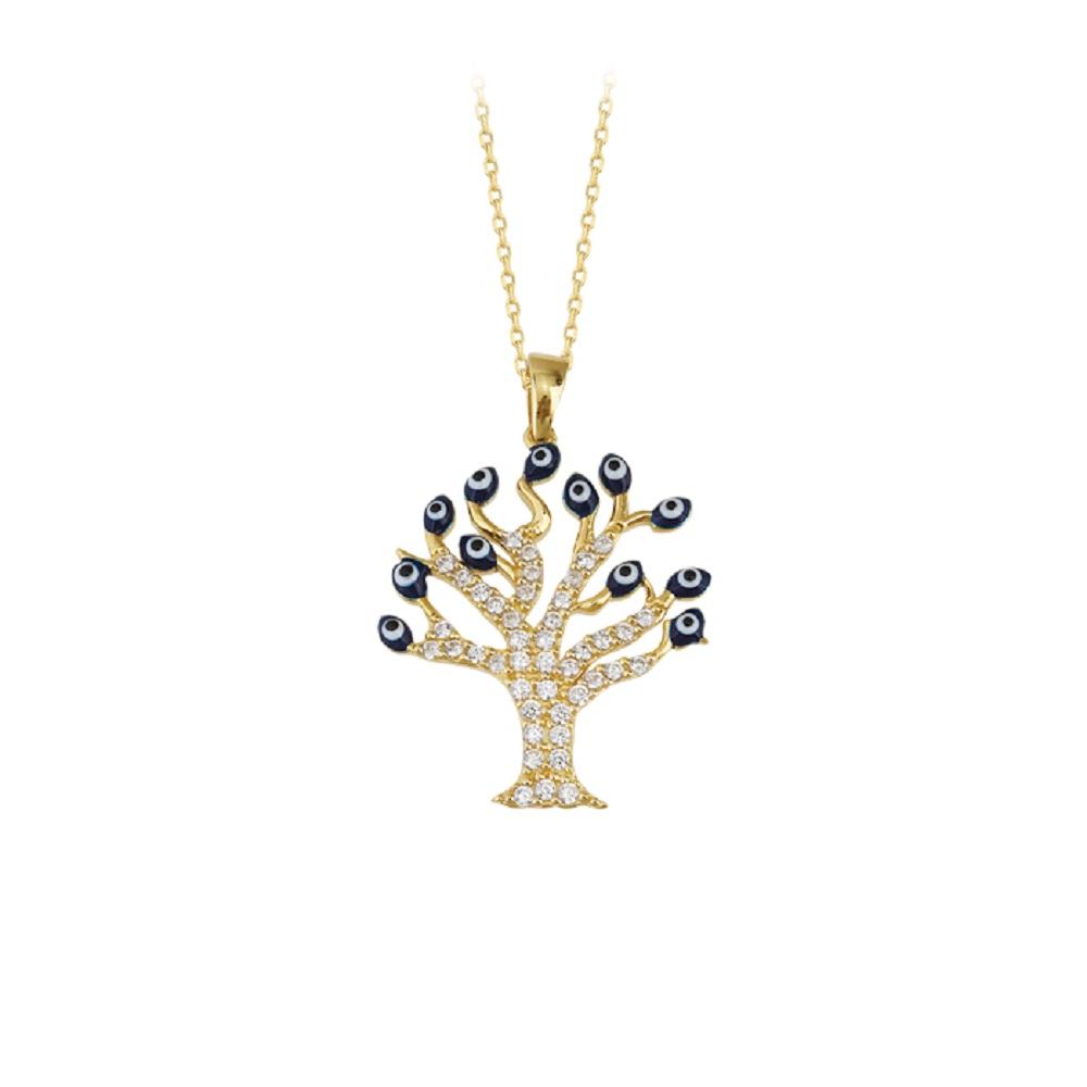 Women's Gemmed Tree of Life Pendant 14 Carat Gold Necklace