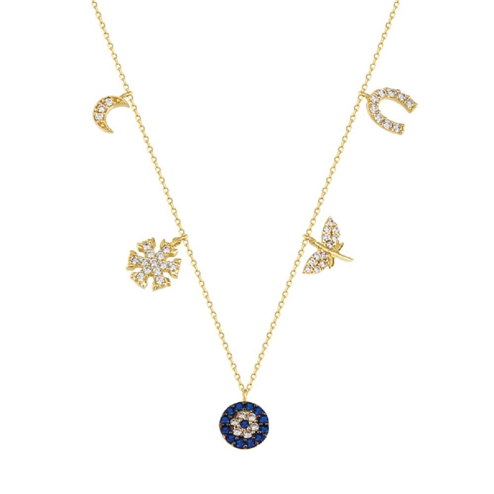 Women's Gemmed Mixed Figure 14 Carat Gold Necklace
