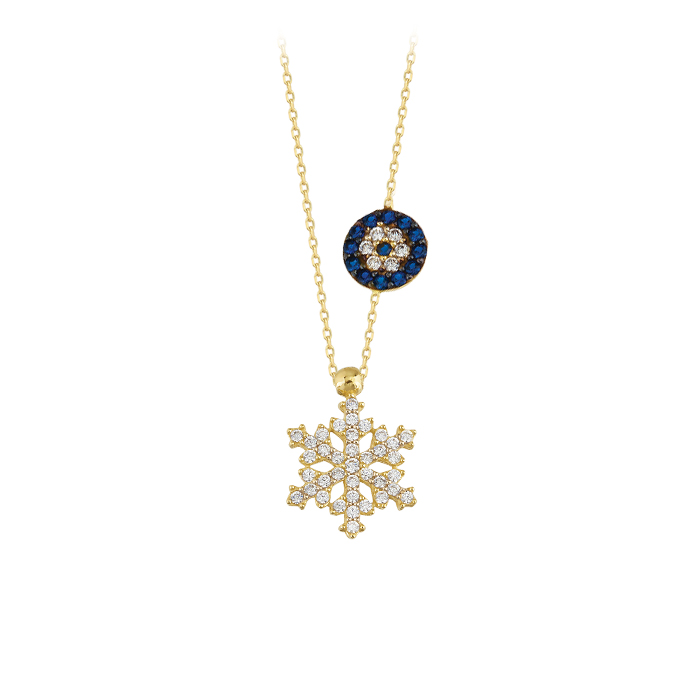 Women's Gemmed Snowflake Evil Eye Pendant 14 Carat Gold Necklace