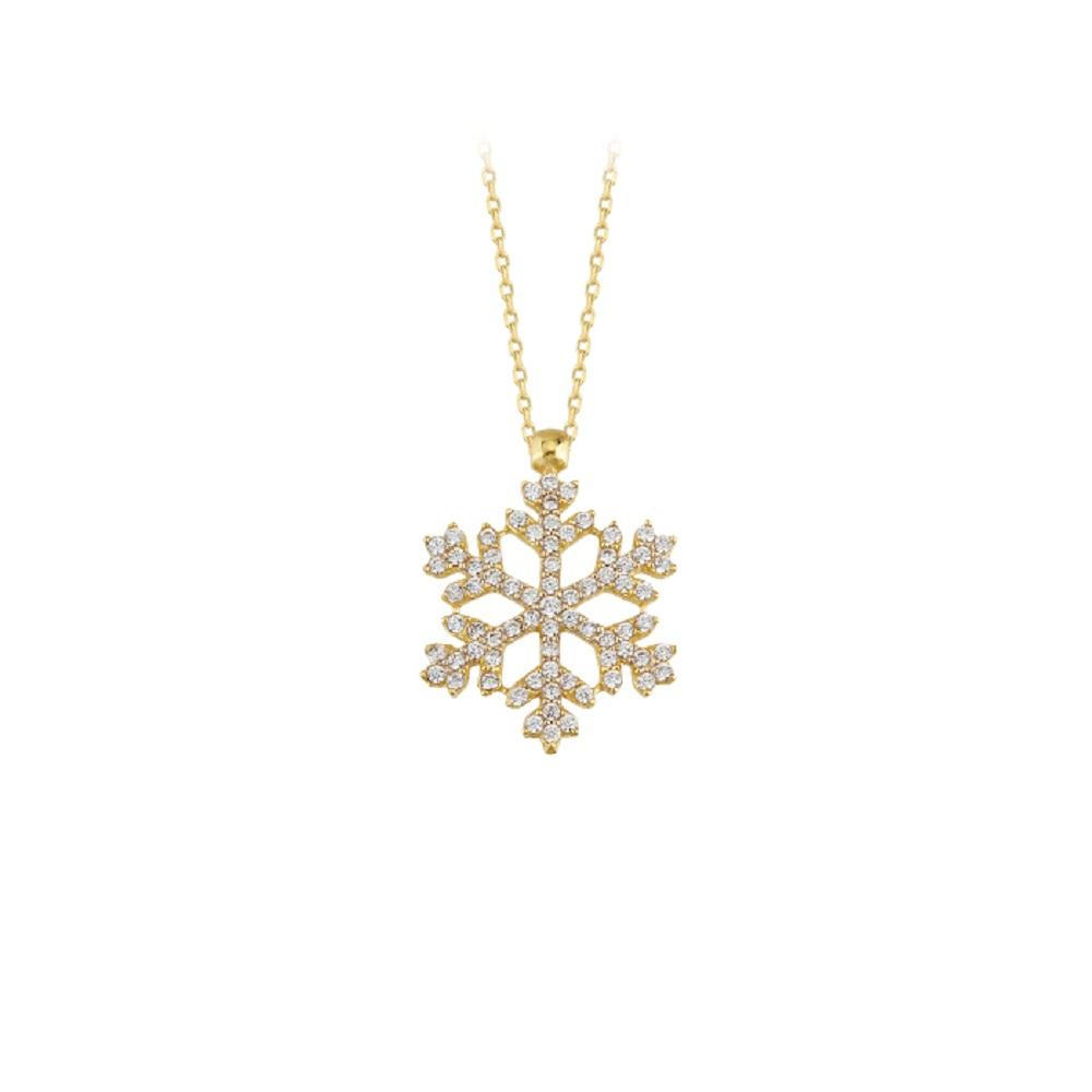 Women's Gemmed Snowflake Pendant 14 Carat Gold Necklace