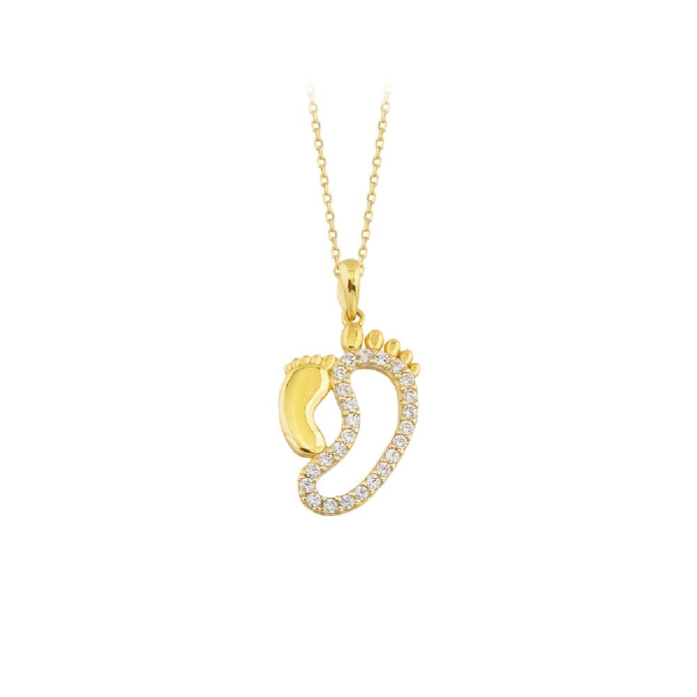 Gemmed Mother- Baby Footprint Pendant 14 Carat Gold Necklace