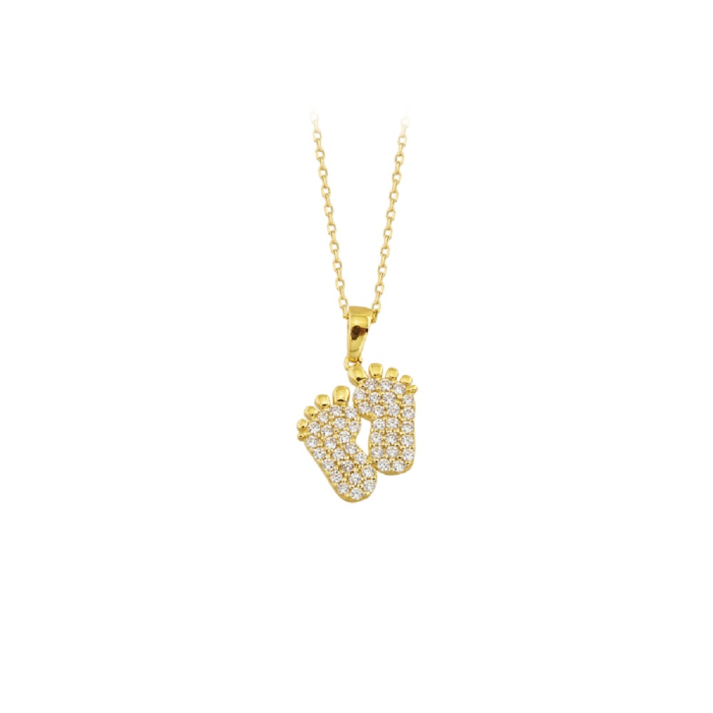 Women's Gemmed Mother- Baby Footprint Pendant 14k Gold Necklace
