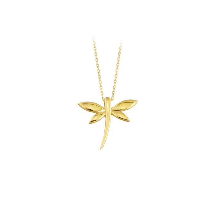 Women's Dragonfly Pendant 14 Carat Gold Necklace