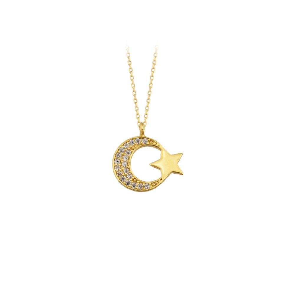 Women's Gemmed Crescent Star Pendant 14 Carat Gold Necklace