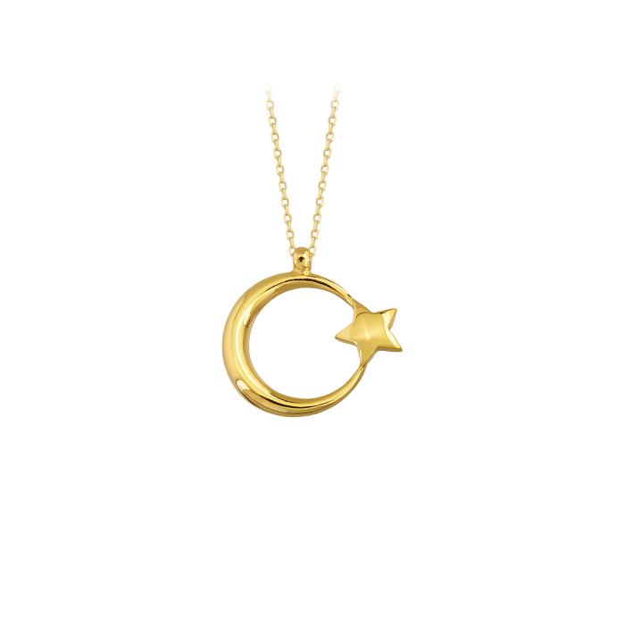 Women's Crescent Star Pendant 14 Carat Gold Necklace