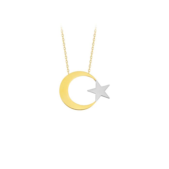 Crescent Star Pendant 14 Carat Gold Necklace