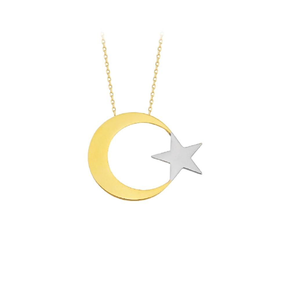 Gemstone Crescent Star Pendant 14 Carat Gold Necklace