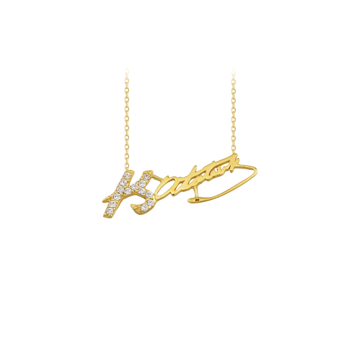 Women's Gemmed Atatürk Signature Pendant 14k Gold Necklace