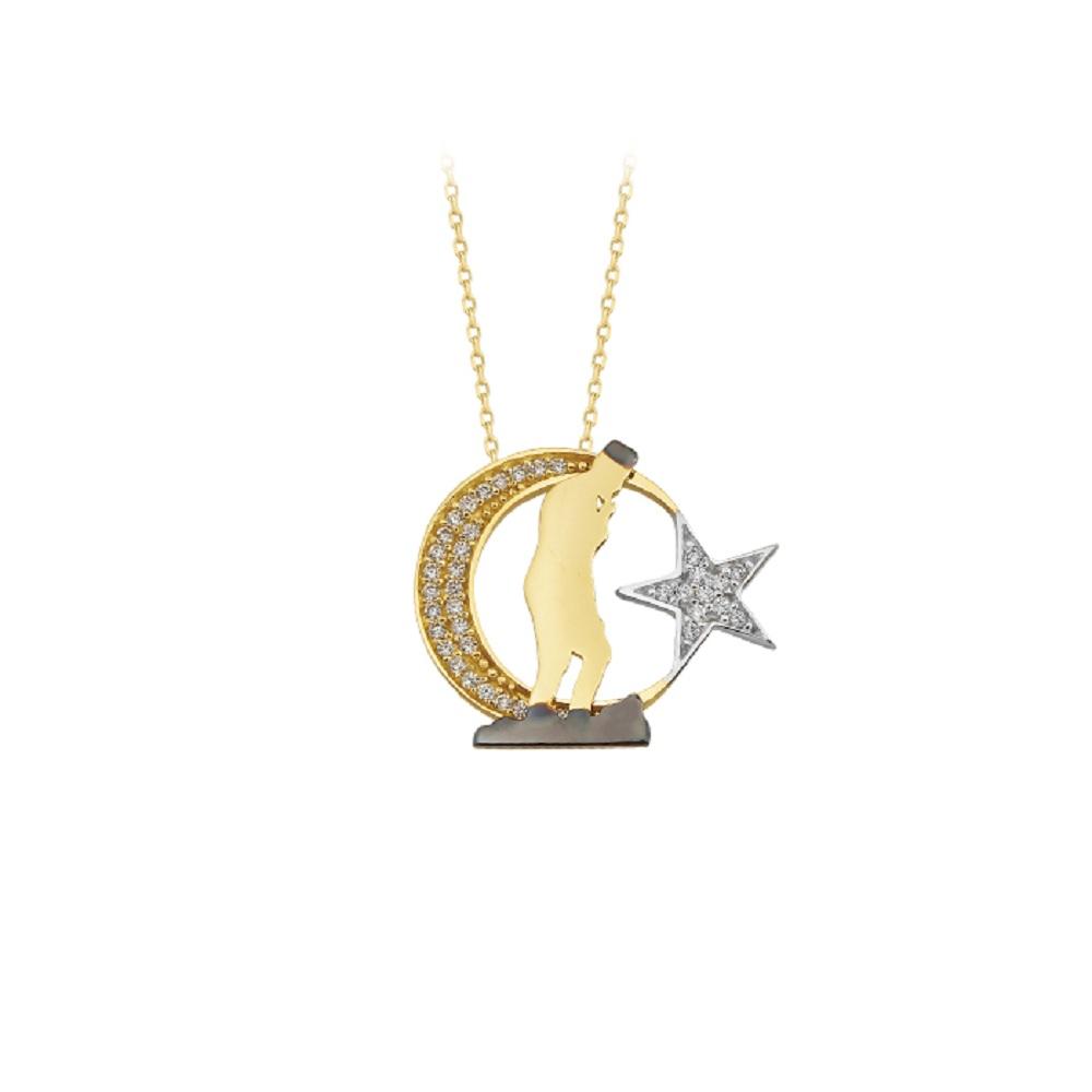 Gemmed Atatürk Signature Pendant 14 Carat Gold Necklace
