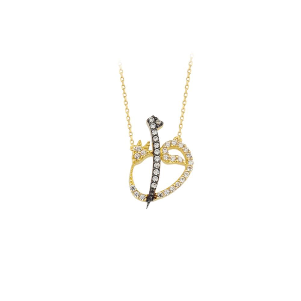 Women's Gemmed Elif Vav Pendant 14k Gold Necklace