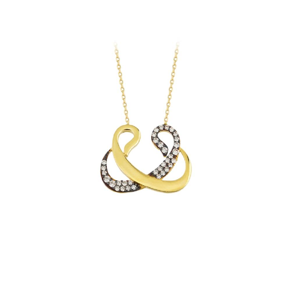 Women's Gemmed Vav Pendant 14k Gold Necklace