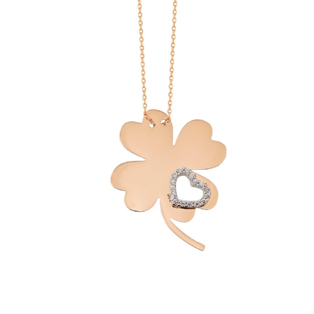Gemmed Clover Pendant 14 Carat Gold Necklace
