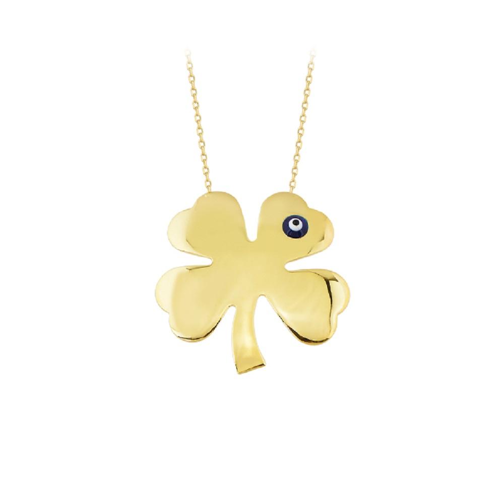Women's Clover Pendant 14 Carat Gold Necklace