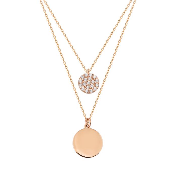 Gemmed 14 Carat Gold 2 Layer Necklace