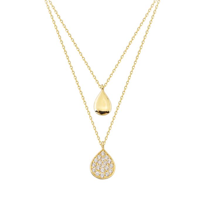 Women's Gemmed 14 Carat Gold Necklace- 2 Pieces