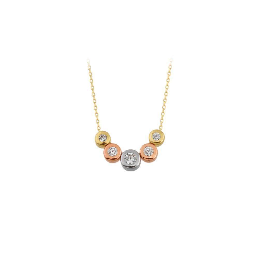 Women's Gemmed Pendant 14 Carat Gold Necklace