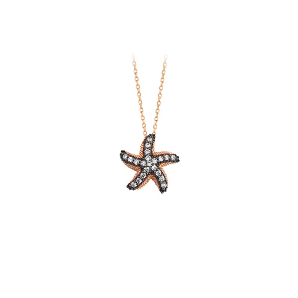 Women's Gemmed Starfish Pendant 14 Carat Gold Necklace