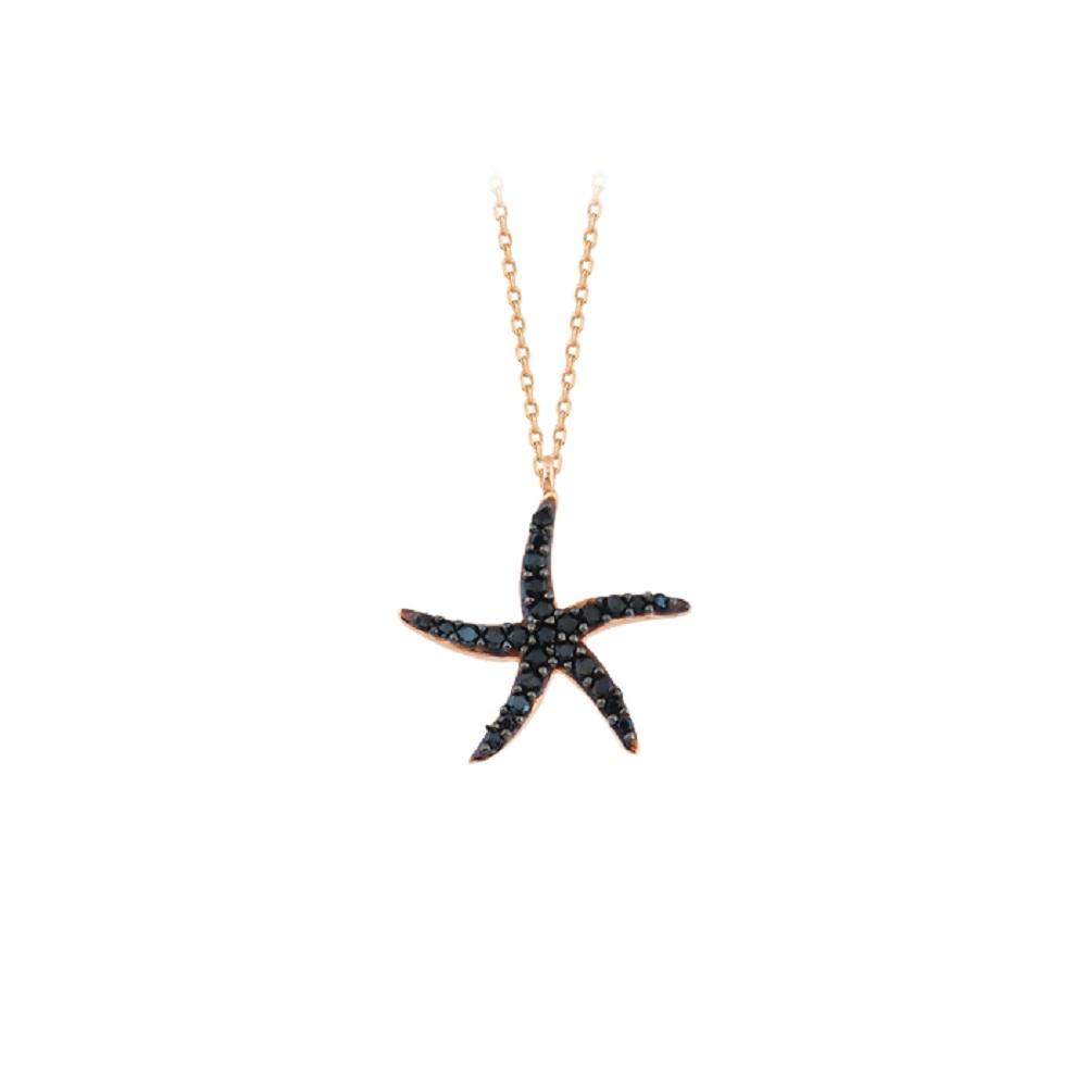 Women's Gemmed Star Pendant 14k Gold Necklace