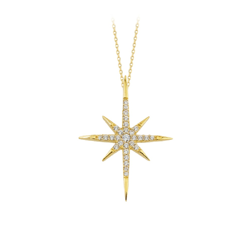 Women's Gemmed Star Pendant 14 Carat Gold Necklace
